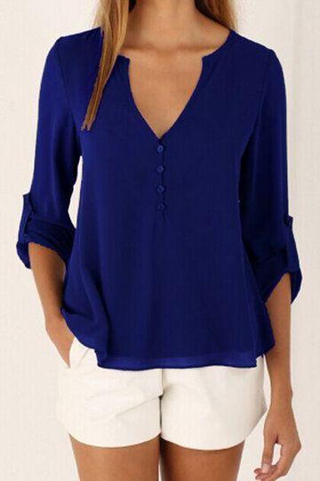 Deep Blue V-neck Long Sleeves Chiffon Shirt