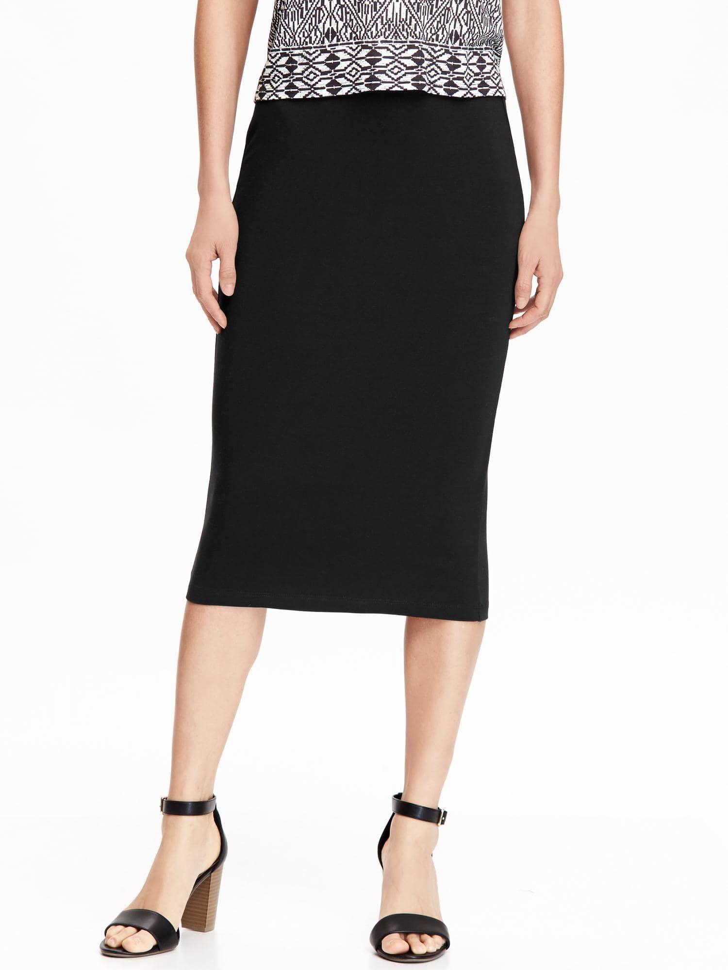 fb76a3e352 Jersey Pencil Midi Skirt for Women in 2019 | Clothing | Black midi ...