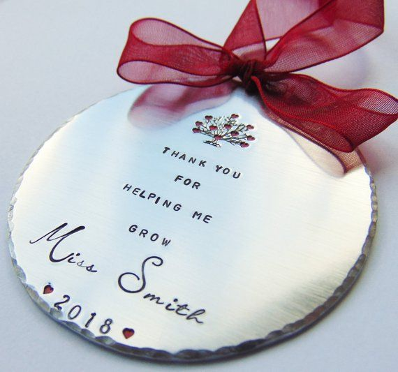 Teacher Ornament, Personalized Ornament, Gift for Teacher, Heart Ornament, Hand Stamped, Handstamped Gift, Personalized Teacher, Student
