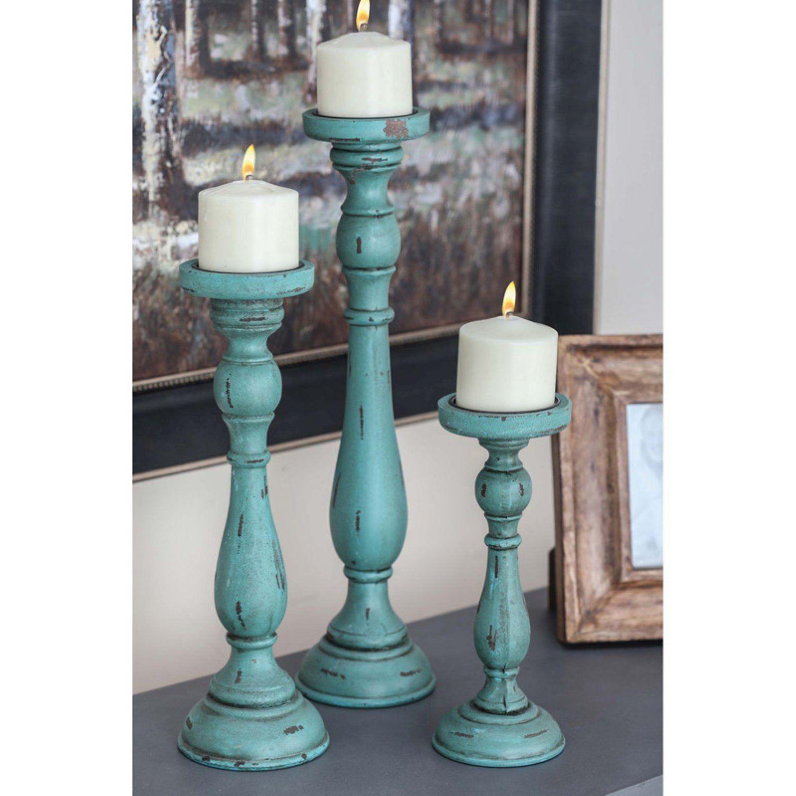 Decmode Wood Candle Holder Set Of 3