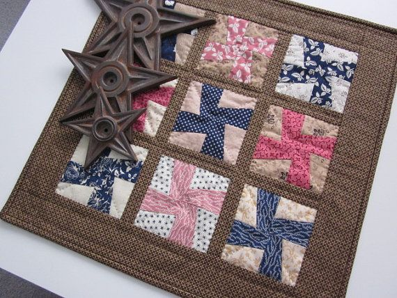 Civil War Mini Pin Wheels Hand Quilted Quilt by thePATchworksshop