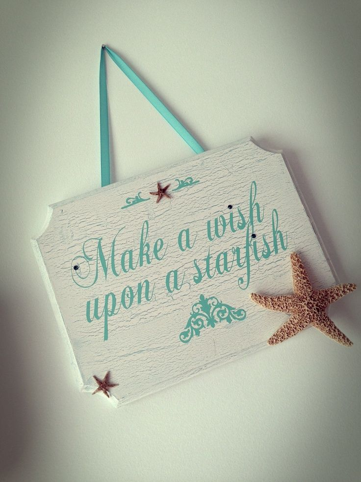 Make a Wish Upon a Starfish sign! Vintage/Distressed wooden signs