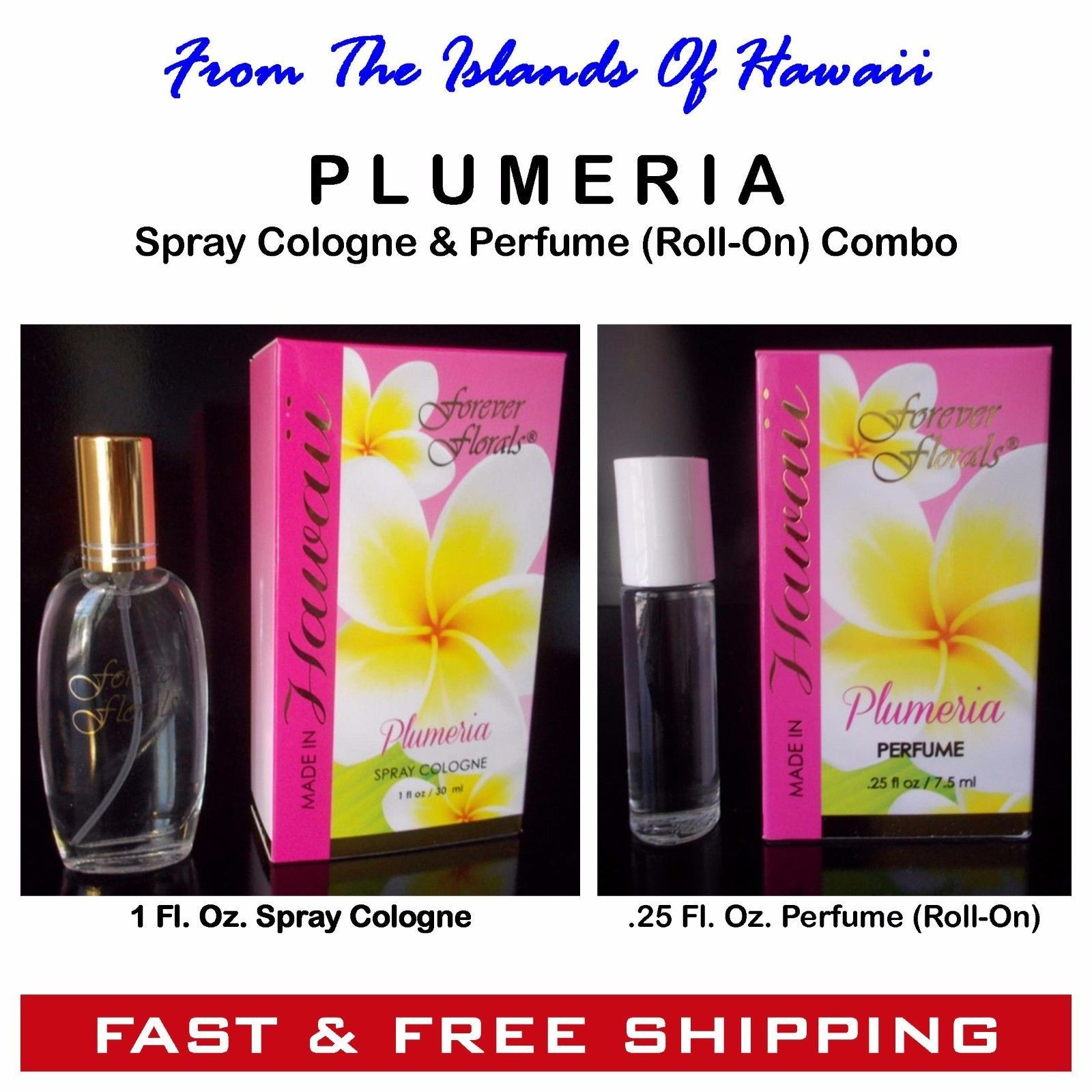 Plumeria Spray Cologne Perfume Roll On Combo By Forever Florals Free Ship Roll On Perfume Bottle Cologne