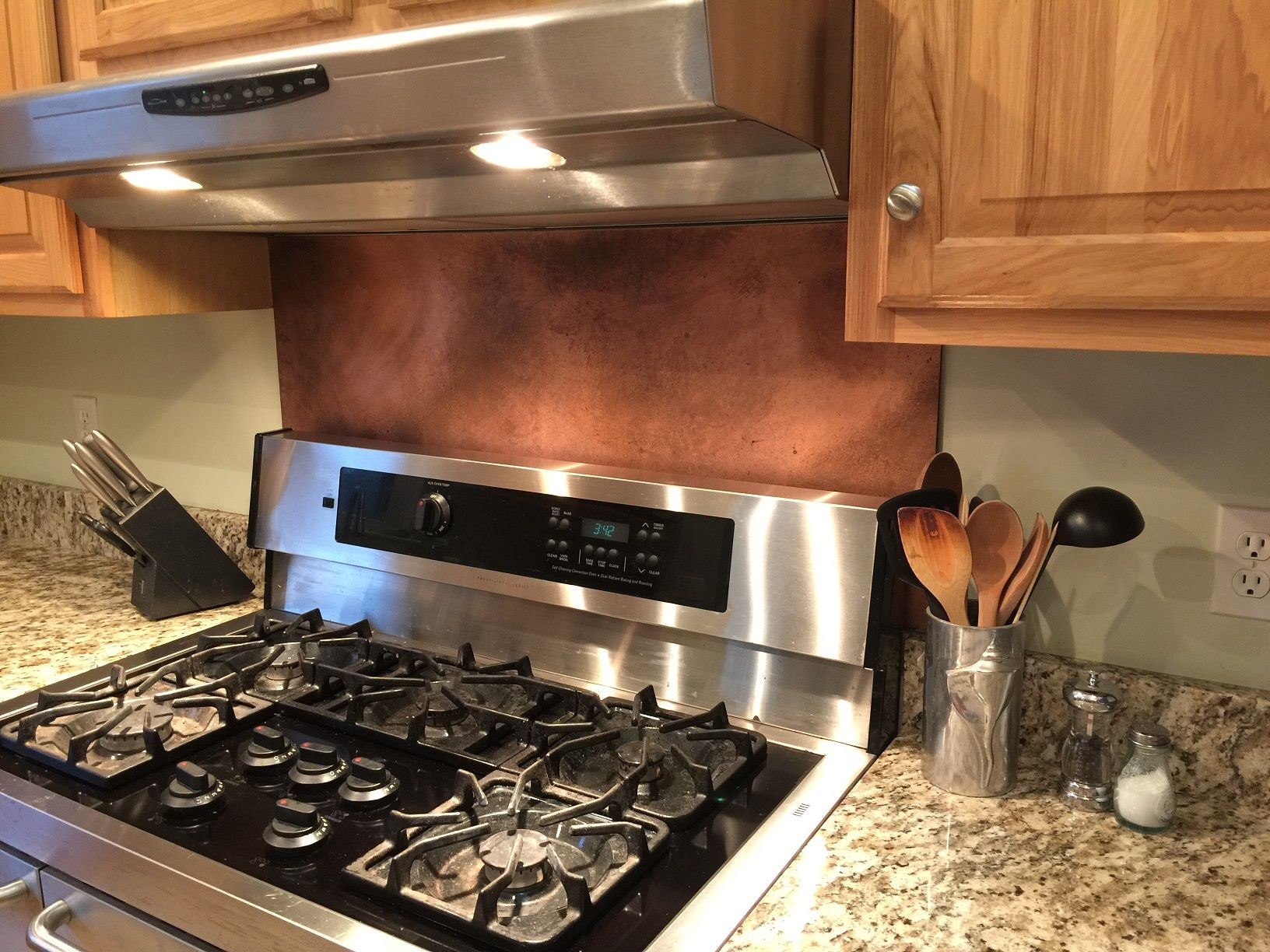 This Rustic Brown Copper Backsplash Was Made With Our 10 Mil Copper Sheeting.  It Is