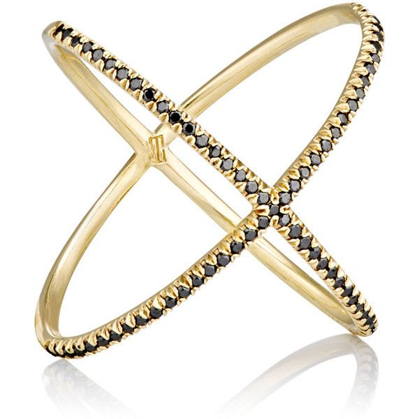 Eva Fehren Women s Black Diamond & Yellow Gold X Ring $4 345