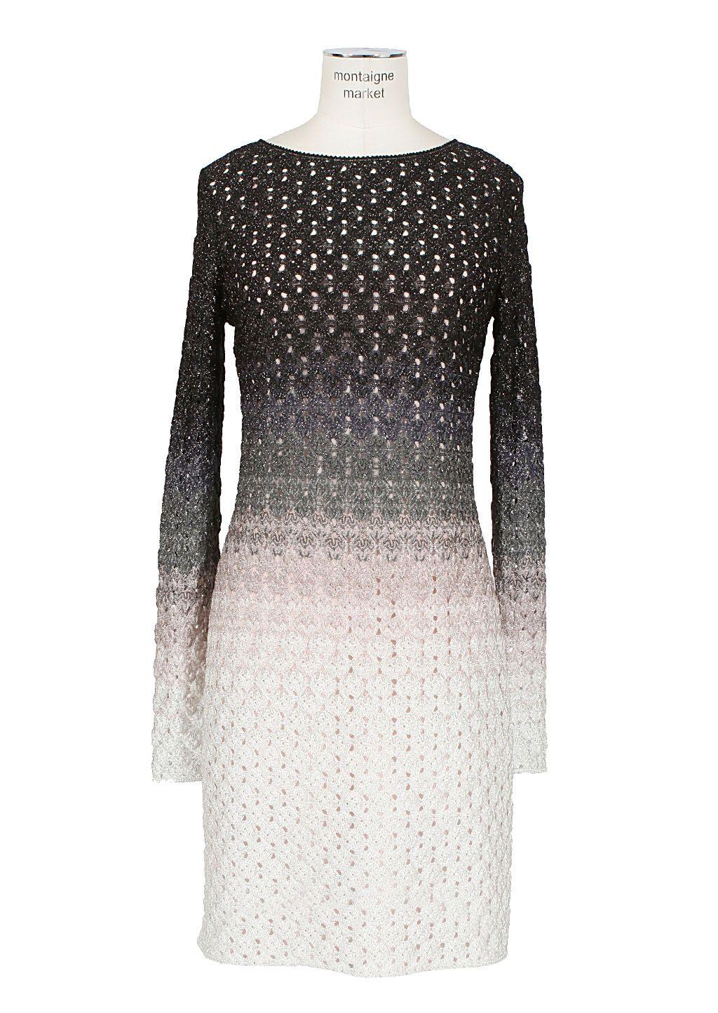 Missoni Dress :: Missoni ivory and grey crochet-knit long sleeves ...