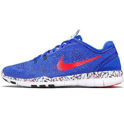 6d57f28feee2 Nike Free 5.0 Tr Fit 5 Prt Womens 704695-405 Blue Crimson Training Shoes Sz  7