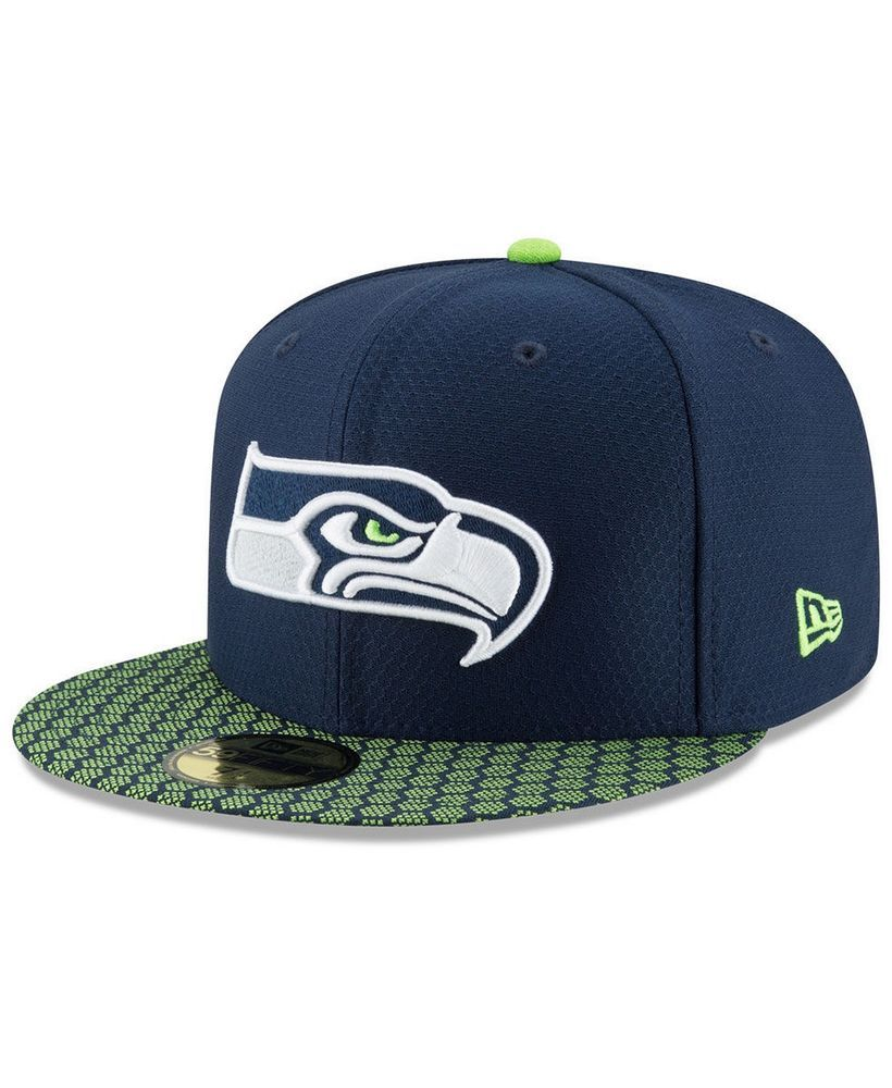 New Era Seattle Seahawks 59Fifty Sideline Fitted Hat Navy Lime Assorted  Sizes  NewEra  SeattleSeahawks 8ac6351a6
