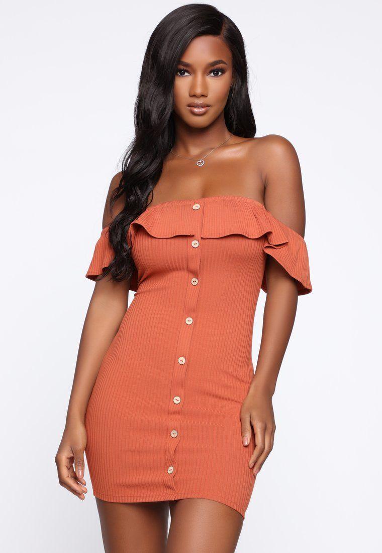 So Cute Off Shoulder Mini Dress Rust Dresses, Fashion
