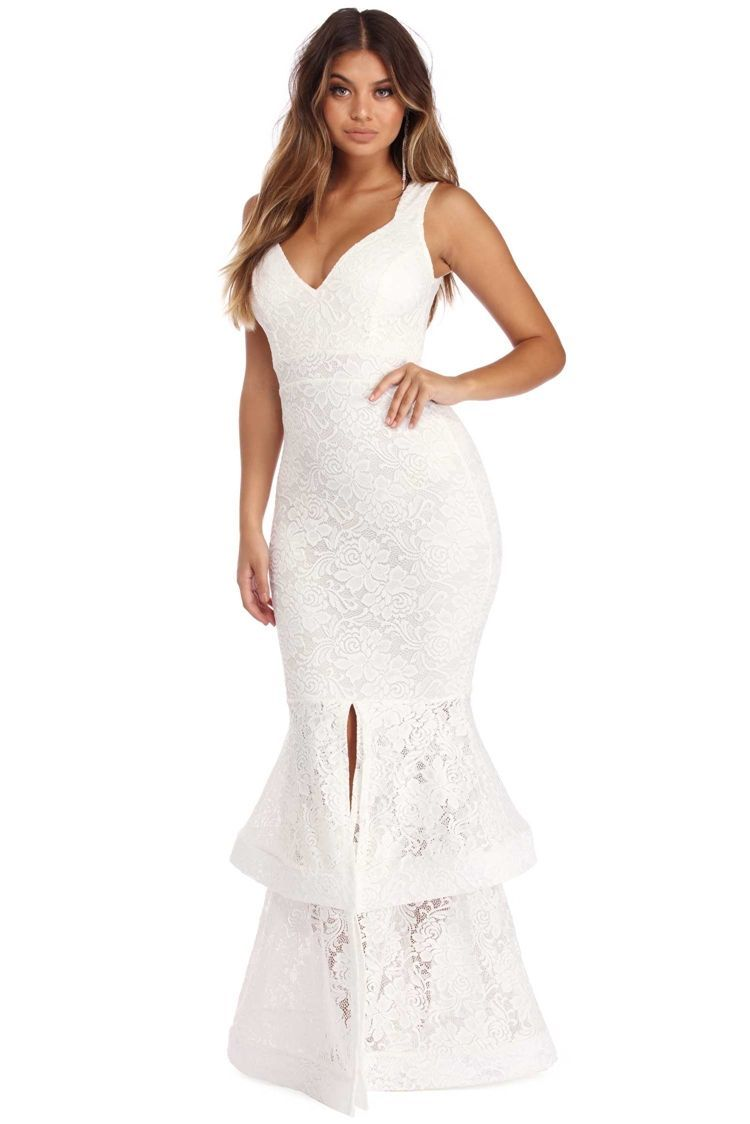 Maci White Layered Lace Dress Windsorcloud Dresses Lace Dress Everyday Dresses [ 1124 x 750 Pixel ]