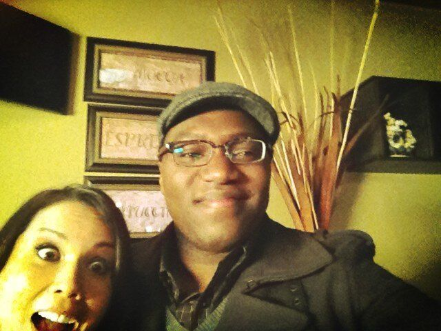 Lexa Doig and Omari Newton were on the set (Lucas looking very proletariat) of Continuum S2 during the US live tweet of 1x07 - Feb. 25, 2013 (via @LexaShmexa on Twitter)