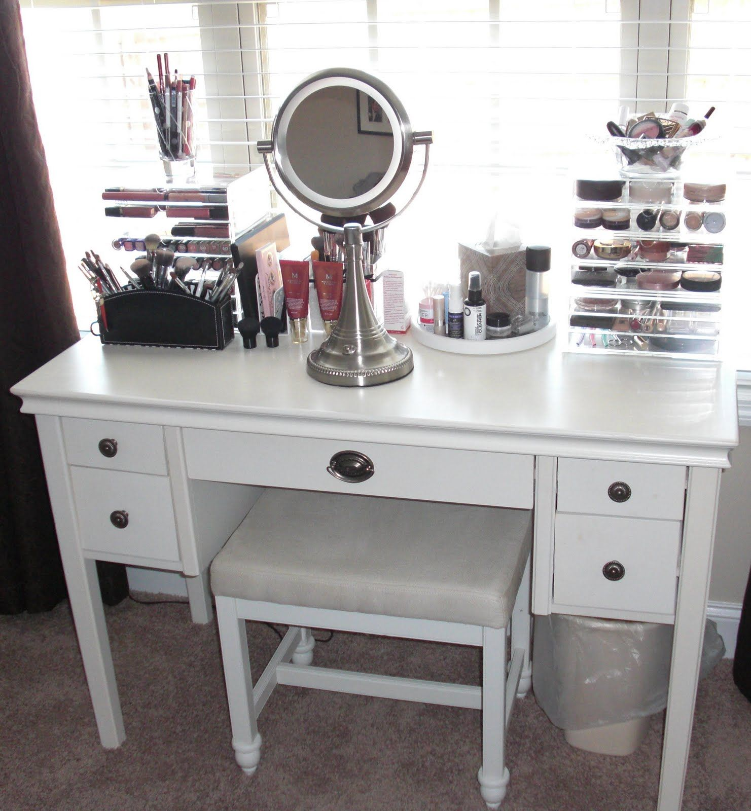 Superb Makeup Vanity No Mirror Part - 3: Peachy Makeup Vanity Table Idea And Makeup Vanity Table Idea With Also  Makeup With Storage Organizers In Vanity Makeup Table