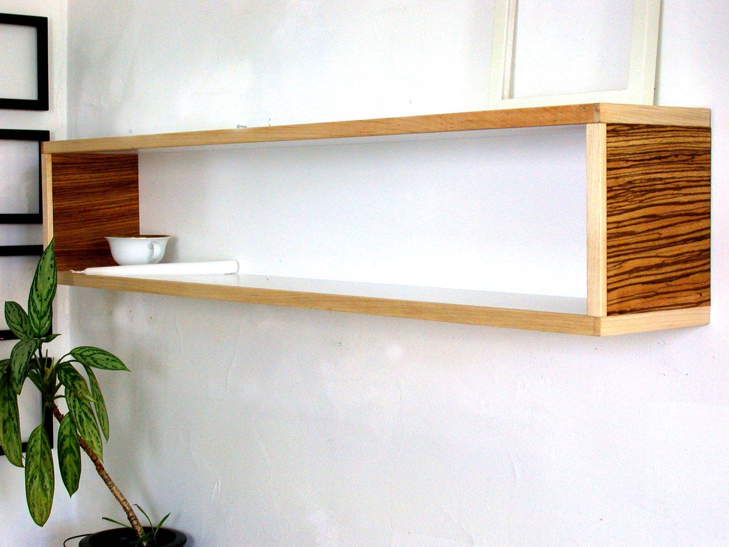 Modern Wall Decor for Home or Office White Maple Yellow Brown Zebra Stripes  Modular Book Shelf