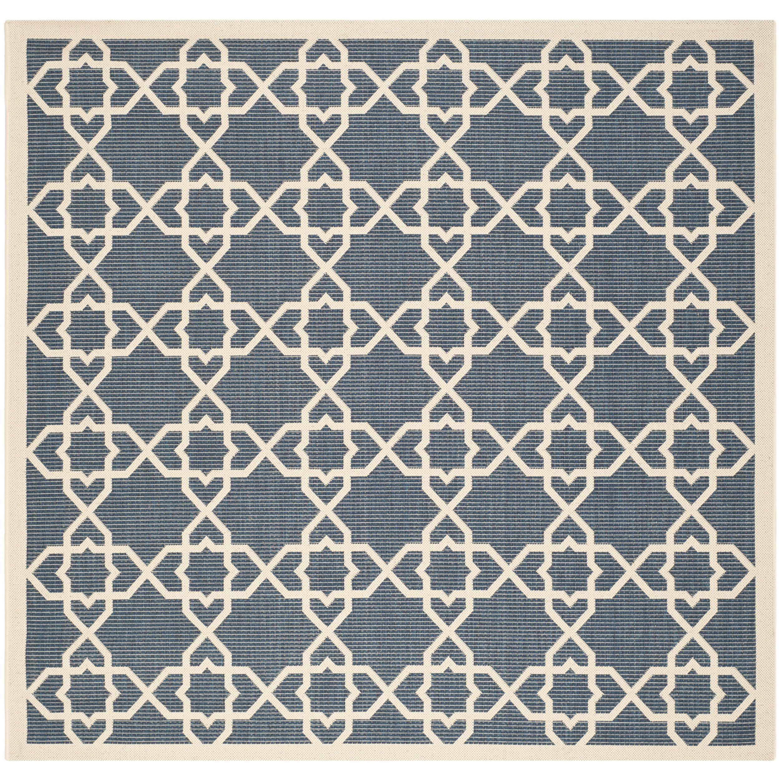 Safavieh Courtyard Geometric Trellis Navy Beige Indoor Outdoor Rug 6 7 Square Cy6032 268 7sq Blue Size X