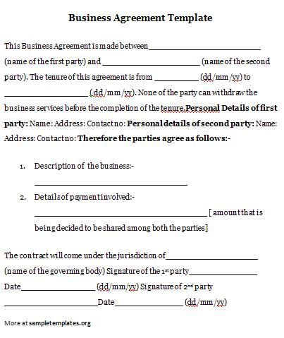 Business Agreement Business Agreement Template  Agreement