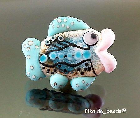 Handmade lampwork 1 bead fish-blue-SINGLE BEAD-SRA