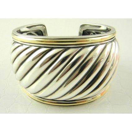 David Yurman Wide Cable Cuff Sterling Silver & 18k Gold <3