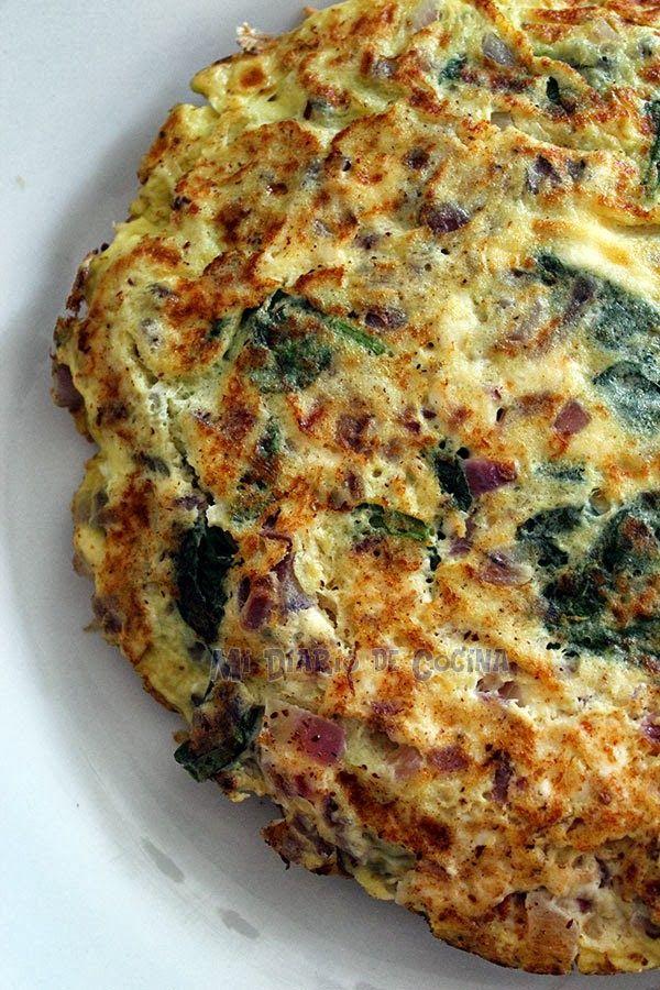 Tortilla De Espinacas Mi Diario De Cocina Receta Recetas Vegetarianas Comida Vegetariana Recetas Tortilla De Espinaca
