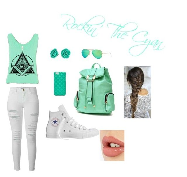 """""""Rockin' The Cyan"""" by brianna-bae on Polyvore featuring Frame Denim, FOSSIL, Bling Jewelry, Ray-Ban, Dasein, Converse and Charlotte Tilbury"""