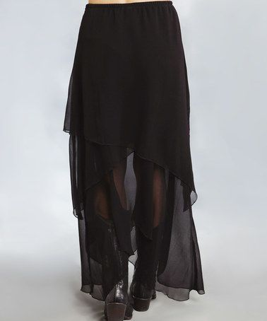 Another great find on #zulily! Black Ruffle Maxi Skirt - Women by Stetson #zulilyfinds