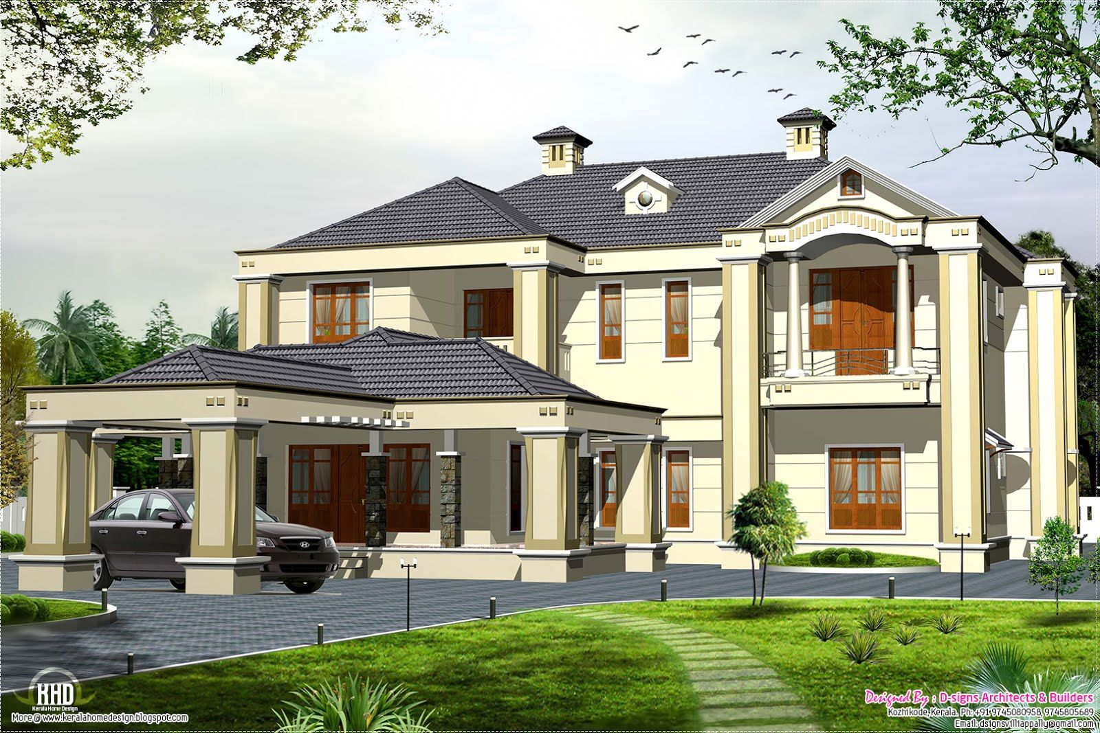 Colonial type modern luxury home - 5 Bedroom Homes Colonial Style 5 Bedroom Victorian Style House Kerala Home Design