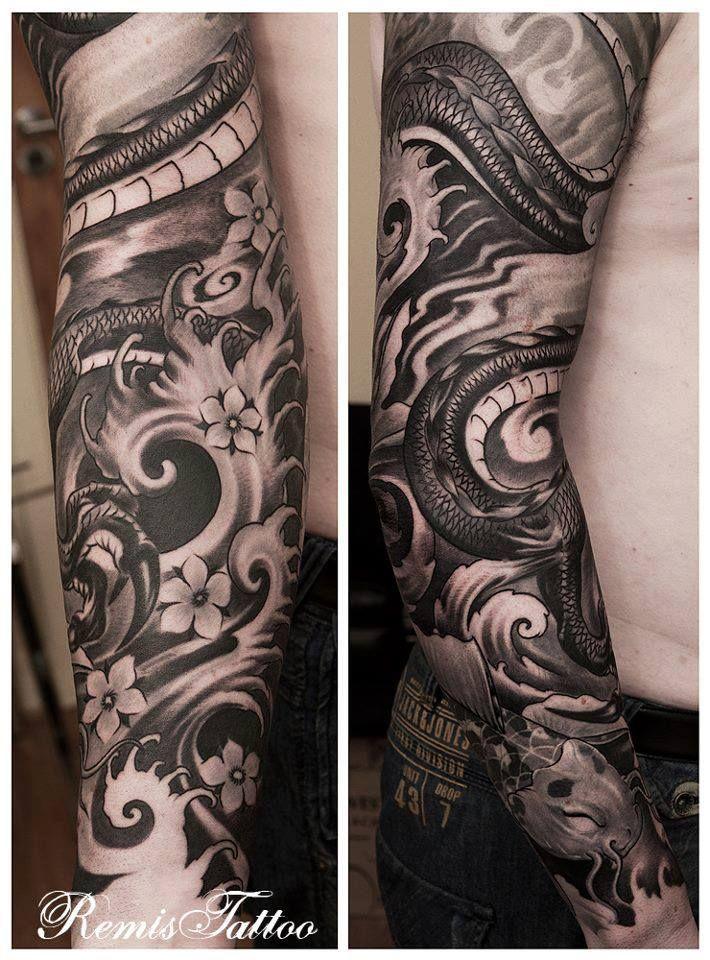Aecc7d7a8b8cede3fabbdb55ee5afaa3 Jpg 710 960 Pixels Black And Grey Tattoos Sleeve Dragon Tattoo Black And Grey Black And Grey Tattoos