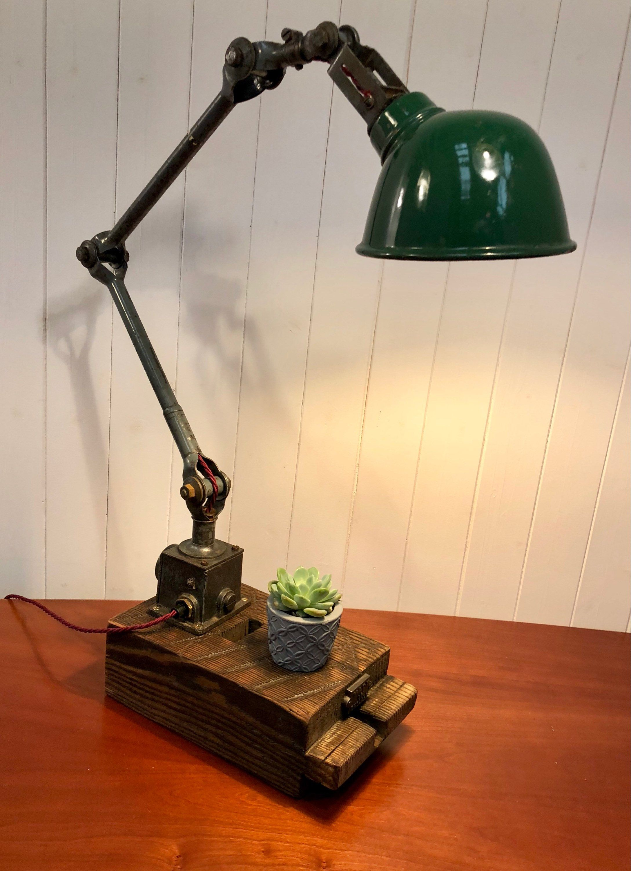 Table Lamp This Industrial Vintage Side Lamp Has Been Etsy Side Lamps Lamp Industrial Lamp
