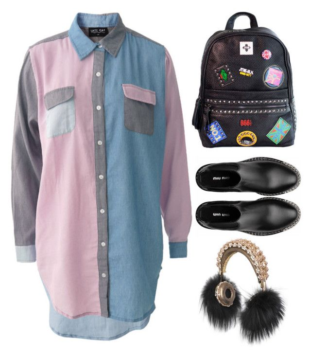 """#735"" by anna-od ❤ liked on Polyvore featuring Lazy Oaf, Chicnova Fashion, Miu Miu and Dolce&Gabbana"
