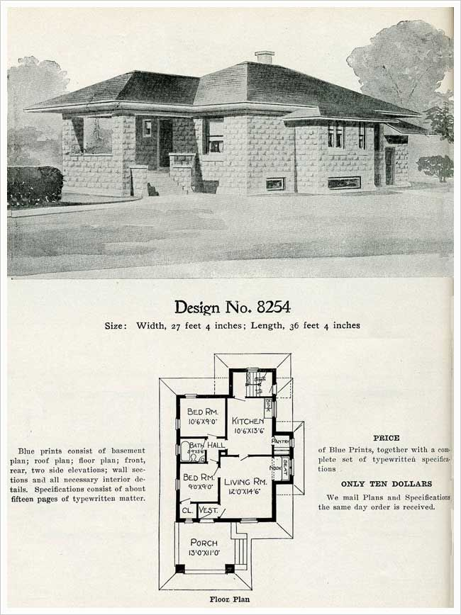 1909 Radford Cement Homes No 8254 House Plans Tiny House Floor Plans Vintage House Plans