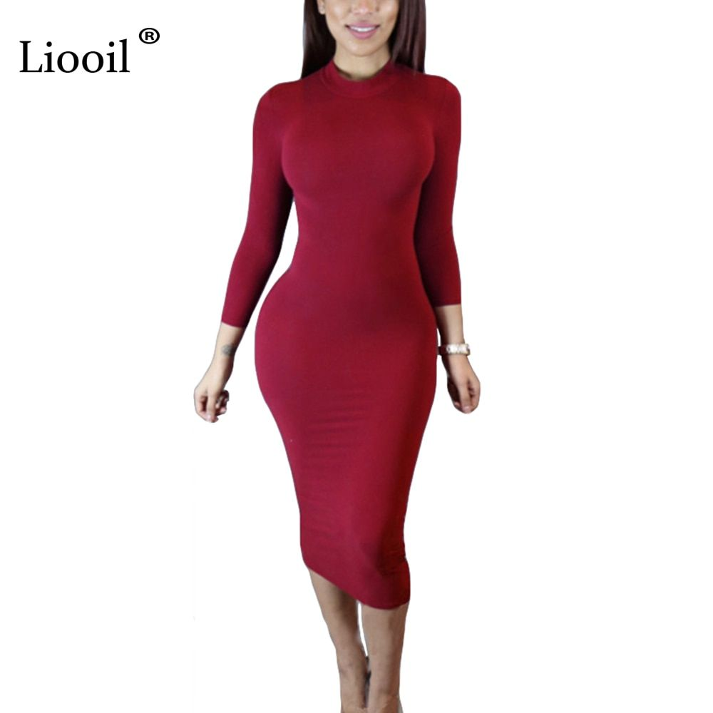 Liooil 2019 Spring Dress Turtleneck Long Sleeve Black Wine Red Midi Bodycon Dresses Fashion Winte Red Midi Dress Bodycon Turtle Neck Dress Winter Dress Outfits