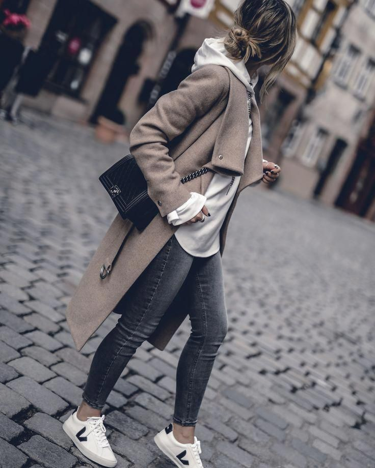 Fall Outfit 2017 Women Cute Preppy Edgy Classy Sweaters Street Styles, Camel Coat, Hoodie, Sneakers | seen on WantGetRepeat.com #WomensFashionEdgy