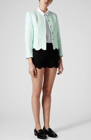 Topshop 'Betty' Scalloped Coated Bouclé Jacket | Nordstrom