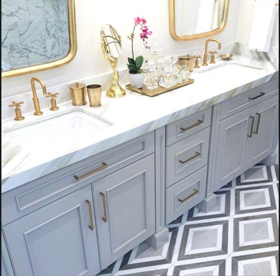 Champagne Gold Fixtures Diy Bathroom Decor Gray And White Bathroom Trendy Bathroom