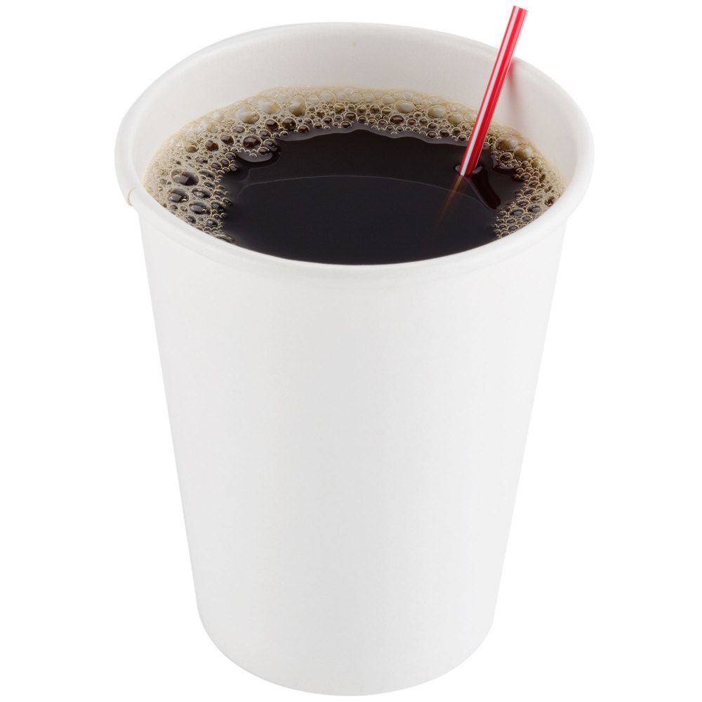 Choice 12 oz white poly paper hot cup 50pack coffee