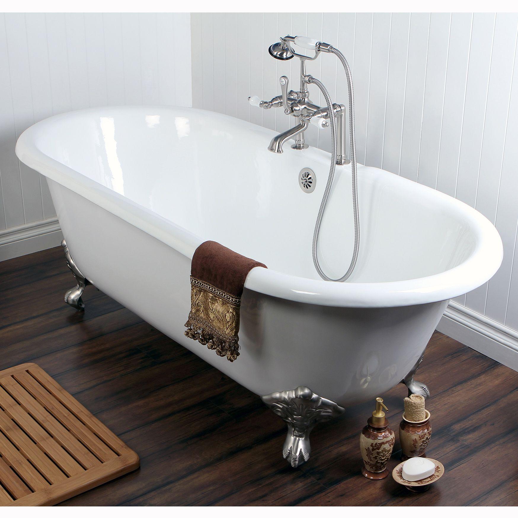 Inspiring Unique Tubs Design Ideas with Cast Iron Bathtub: Cozy Dark ...