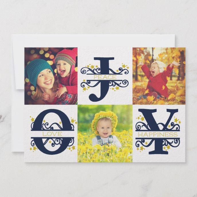 Joy Peace White Blue Full Bleed Plus Photo Collage Holiday