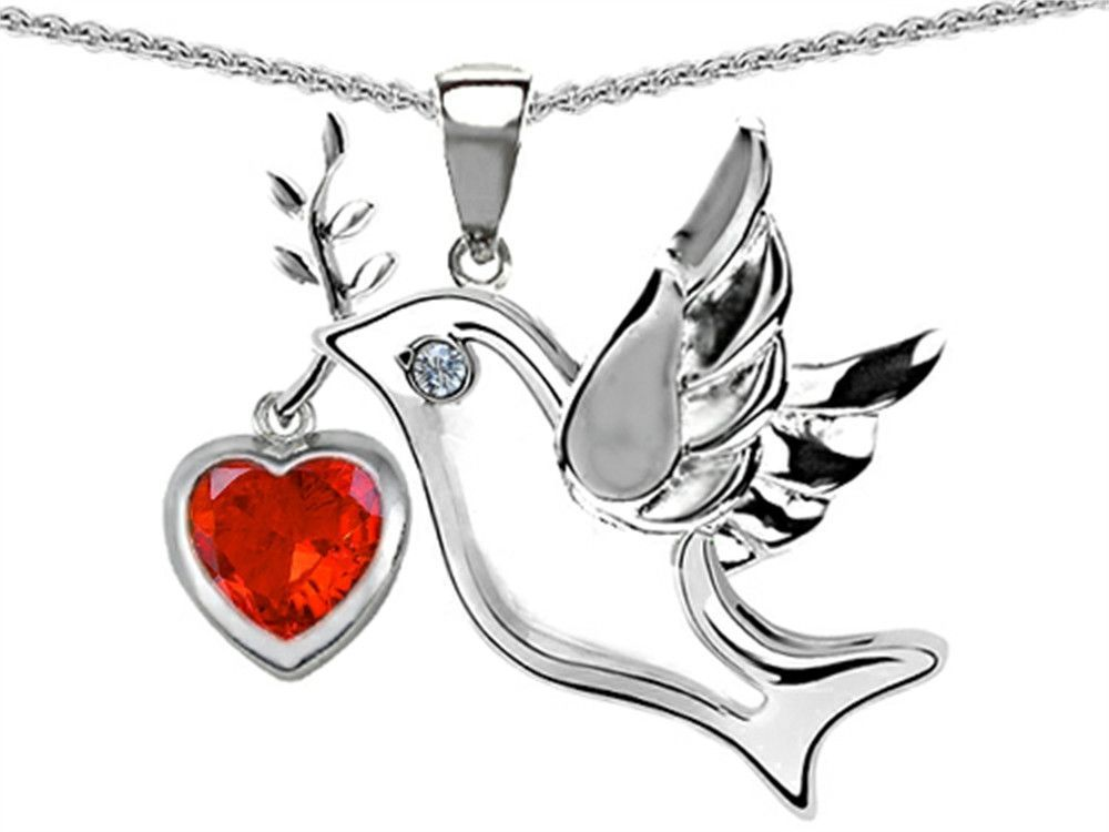 Dove Pendant Clear Simulated CZ .925 Sterling Silver Charm