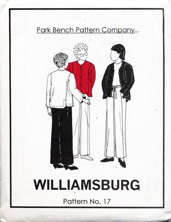Park Bench Pattern Company Sewing Pattern 17 Williamsburg Sewing