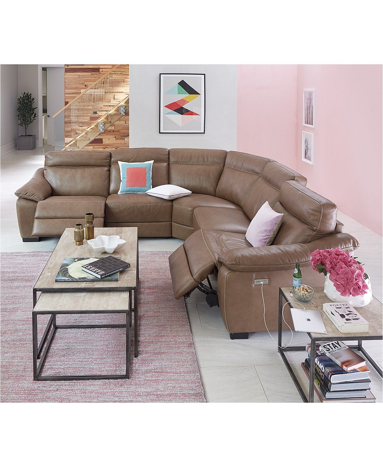 Gennaro Leather Power Reclining Sectional Sofa Collection With Power Headrest Created Reclining Sectional Sectional Sofa With Recliner Leather Sectional Sofas