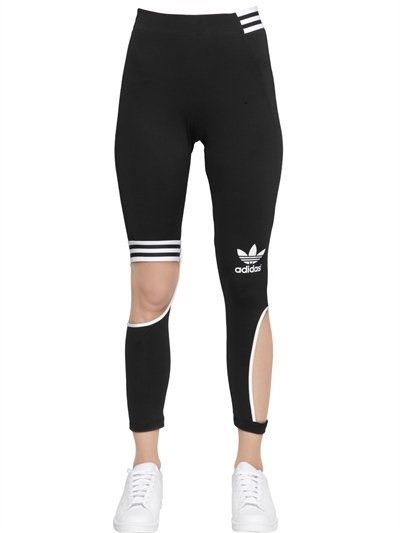 5bb96b2f27be0 adidas Originals by RITA ORA Techno Jersey Cutout Leggings W/Stripes |  luisaviaroma.com | Elastic waistband with striped band • Cutouts • Striped  band above ...