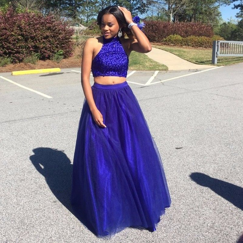 Two Pieces Prom Dress,Royal Blue Prom Dress,Fashion Prom | Royal ...