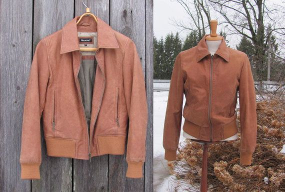 Vintage Bomber Jacket size S Caramel Brown Leather by OLaLaVintage