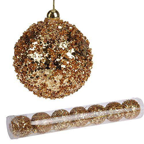 7 Stück Goldene Weihnachtskugeln Christbaumkugeln, Gold U2013 Glitzer, 7 Cm