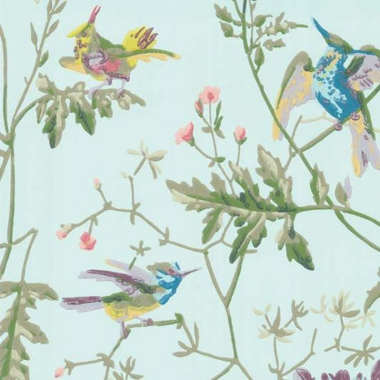 Hummingbirds Wallpaper A Delightful Featuring Playful Fluttering Amongst Delicate Foliage Printed In Sage