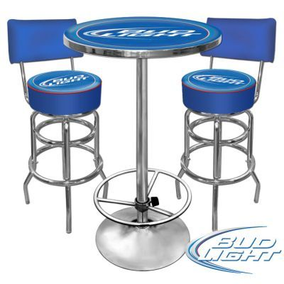 Ultimate Bud Light Gameroom Combo 2 Bar Stools And Table From