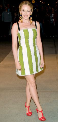 Kylie Minogue wore a white-and-green striped Dolce   Gabbana tweed dress.  Find this Pin and more on Celebrity Mini dresses ... 2d88d67b0f0d