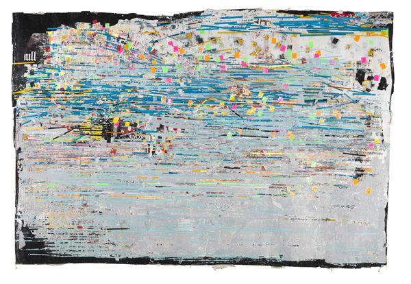 "Mark Bradford, ""Potable Water"", Billboard paper, photomechanical reproductions, acrylic gel medium, and additional mixed media"