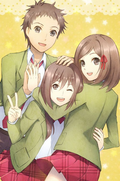 2 Girls And 1 Boy In Bed Anime Pesquisa Google Friend Cartoon Anime Best Friends Anime