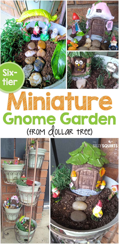 Adorable Six Tier Miniature Gnome Garden In Three Steps Gnome Garden Miniature Garden Fairy Garden Furniture