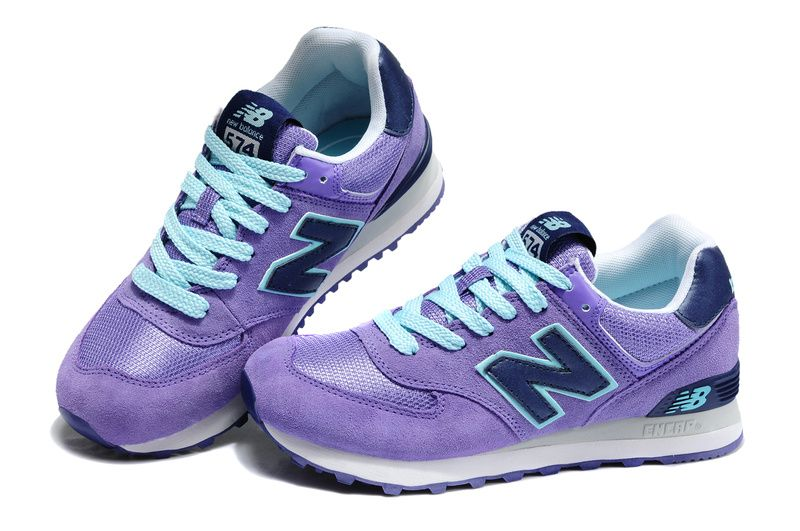 High Grade New Arrival New Balance 574 Women Light Purple Blue Running Shoes  Store